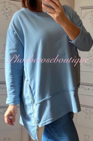 Loose Fit Big Pocket and Zip Sweatshirt - Denim Blue