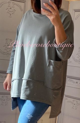 Loose Fit Big Pocket and Zip Sweatshirt - Charcoal Grey