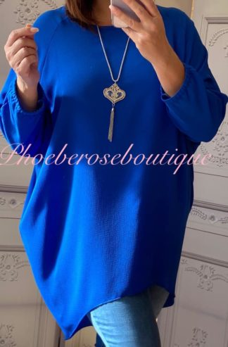 Crepe Longline Necklace Tunic/Top - Royal Blue