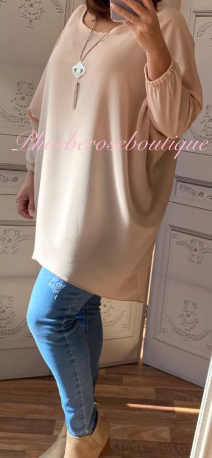Crepe Longline Necklace Tunic/Top - Blush