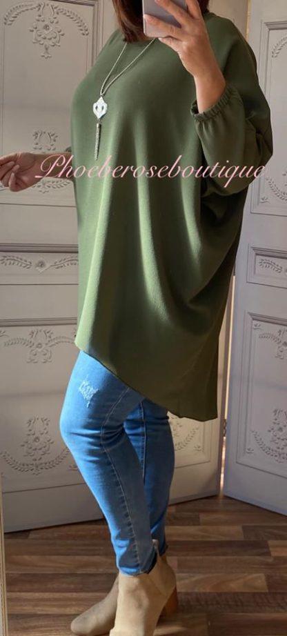 Crepe Longline Necklace Tunic/Top - Khaki