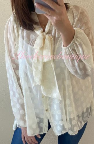 Chiffon Balloon Sleeve Sparkly Fleck Spot Pussy Bow Neck Blouse - Cream