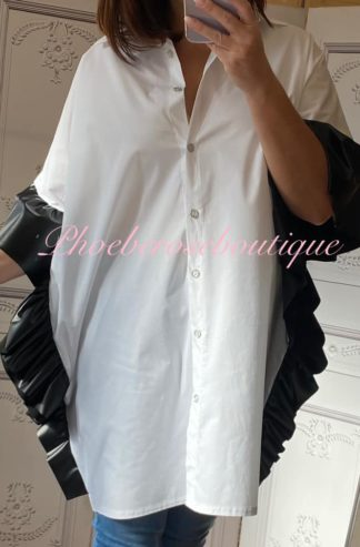 PU Ruffle Trim Over Sized Shirt - White