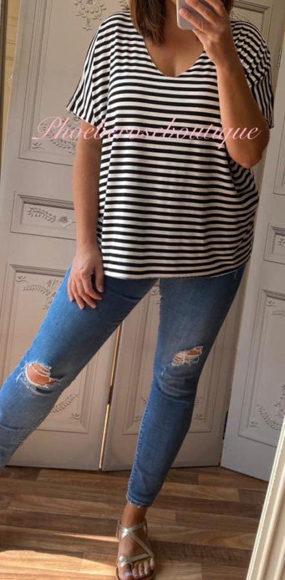 Basic Soft Jersey Stripe T - Shirt - Black