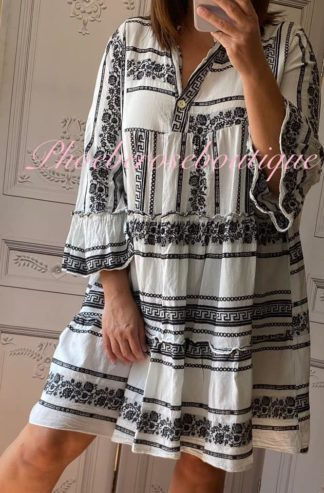 Lux Cotton Boho Style Contrast Dress/Tunic - White/Black