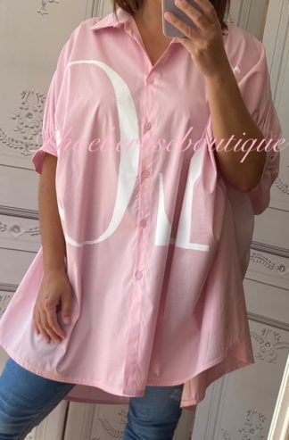LOVE Oversized Loose Fit Logo Cocoon Shirt - Pink