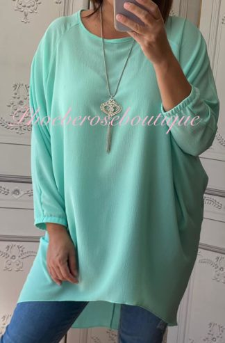 Crepe Longline Necklace Tunic/Top - Mint