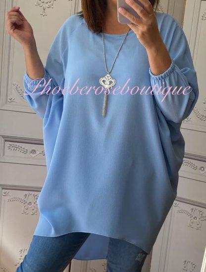 Crepe Longline Necklace Tunic/Top - Summer Blue