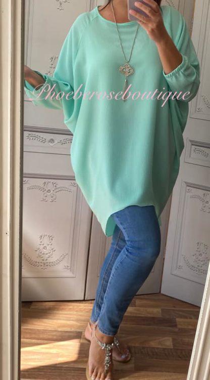 Crepe Longline Necklace Tunic/Top - Mint