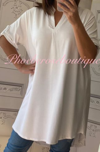 Soft Jersey Loose Fit Shirt Style Tunic Top/Dress - White