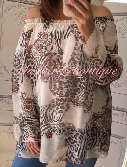 Bardot Silk Mix Animal Print Top - Soft Pink
