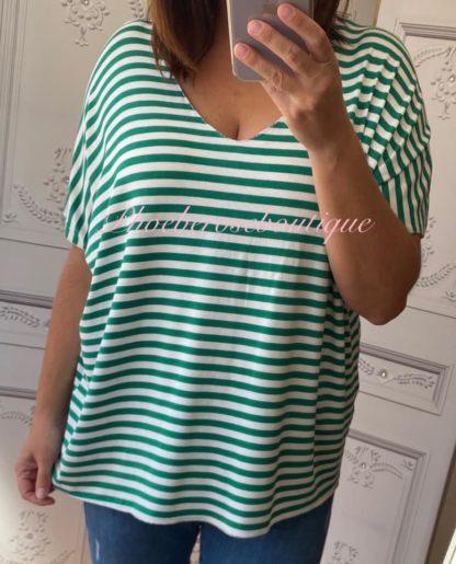 Basic Soft Jersey Stripe T - Shirt - Green