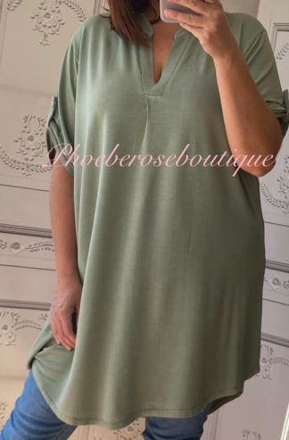 Soft Jersey Loose Fit Shirt Style Tunic Top/Dress - Khaki