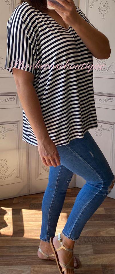 Basic Soft Jersey Stripe T - Shirt - Navy