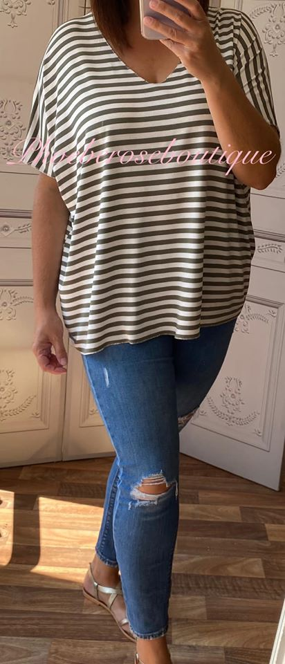Basic Soft Jersey Stripe T - Shirt - Khaki