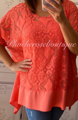 Lace Frill Dipped Hem 2 Part Top - Coral