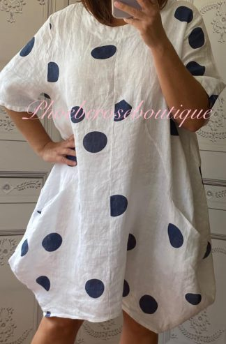 Lux Linen Polka Dot Cocoon Pocket Tunic/Dress -White