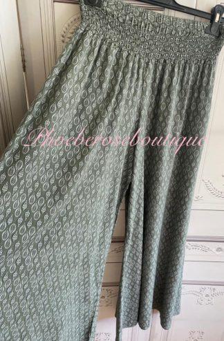 Leaf Print Wide Leg Elastic Waist Trousers - Khaki