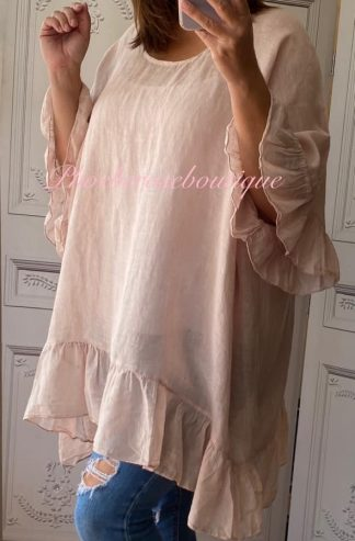 Linen Frill Loose Fit Top - Soft Pink