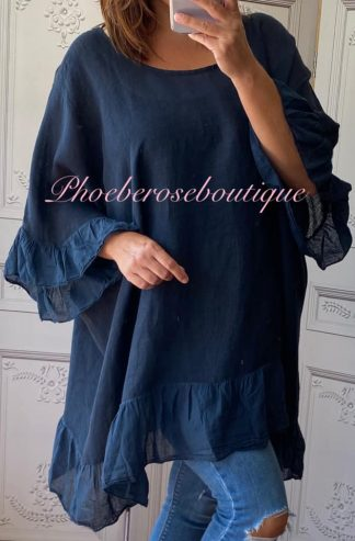 Linen Frill Loose Fit Top - Navy