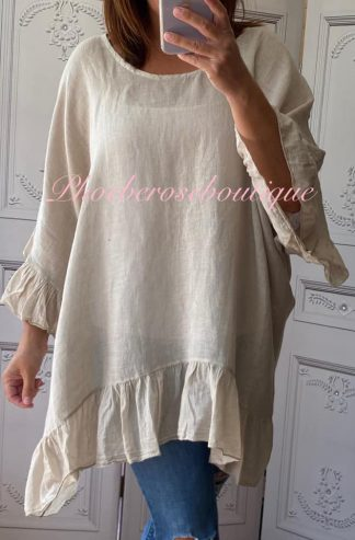 Linen Frill Loose Fit Top - Stone