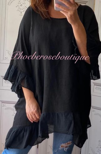 Linen Frill Loose Fit Top - Black
