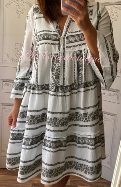 Lux Cotton Boho Style Contrast Dress/Tunic - White/Khaki