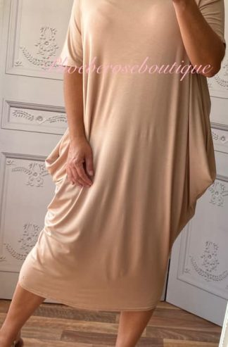 Soft Jersey Midi Slouch Bardot Dress - Nude