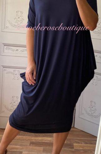 Soft Jersey Midi Slouch Bardot Dress - Navy