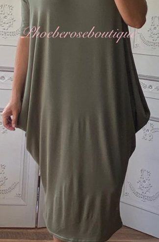 Soft Jersey Midi Slouch Bardot Dress - Khaki