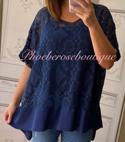 Lace Frill Dipped Hem 2 Part Top - Navy