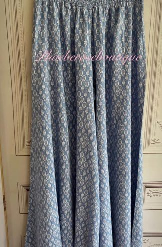Leaf Print Wide Leg Elastic Waist Trousers - Soft Blue
