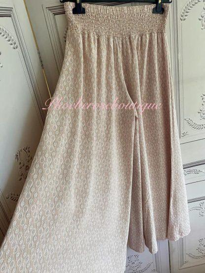 Leaf Print Wide Leg Elastic Waist Trousers - Blush Pink