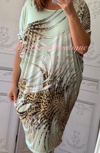 Jungle Animal Print Cut Out Back Tunic/Dress - Mint Mix