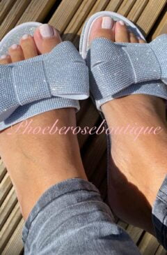 Bow Super Sparkly Diamante Sliders/Sandals - Silver
