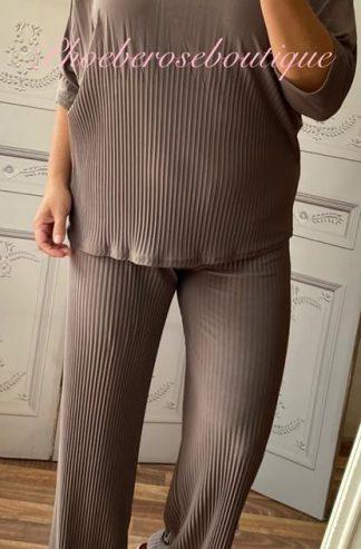 Soft Ribbed 2 Piece Trouser Suit - Mocha