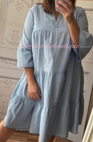 Soft Stripe Boho Dress/Tunic - Blue