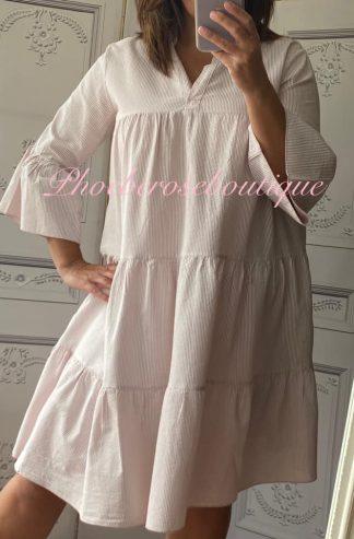 Soft Stripe Boho Dress/Tunic - Pink
