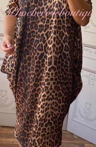 Soft Jersey Midi Slouch Bardot Dress - Lepo Print