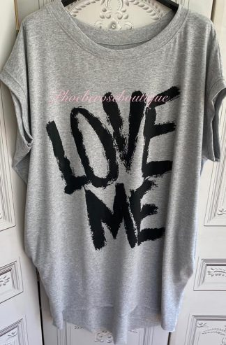 'LOVE ME' Stretch Jersey Cap Sleeve Pocket Tunic Top - Soft Grey