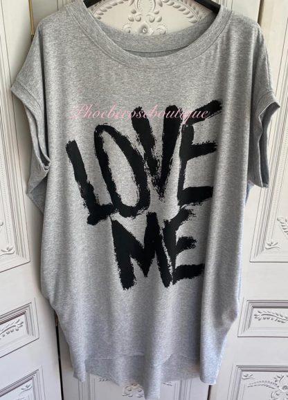 'LOVE ME' Stretch Jersey Cap Sleeve Pocket Tunic Top - Soft Grey