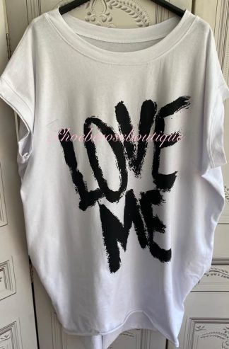 'LOVE ME' Stretch Jersey Cap Sleeve Pocket Tunic Top - White