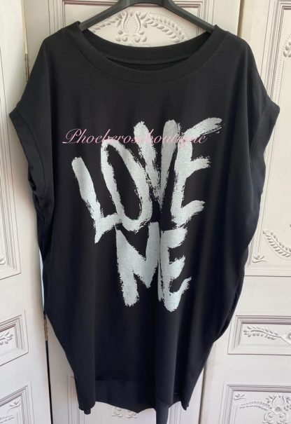 'LOVE ME' Stretch Jersey Cap Sleeve Pocket Tunic Top - Black