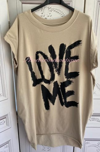 'LOVE ME' Stretch Jersey Cap Sleeve Pocket Tunic Top - Stone