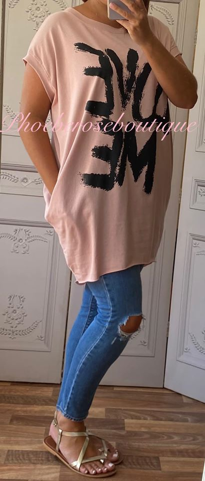'LOVE ME' Stretch Jersey Cap Sleeve Pocket Tunic Top - Soft Pink
