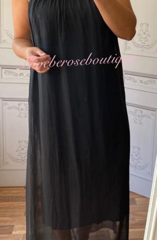Lux Silk Maxi Dress - Black