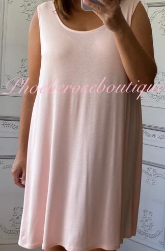 Lightweight Soft Jersey Loose Fit Swing Dress - Soft Pink