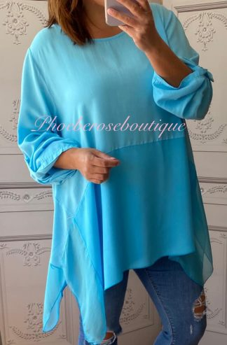 Silk Drape Hem Lightweight Top - Turquoise
