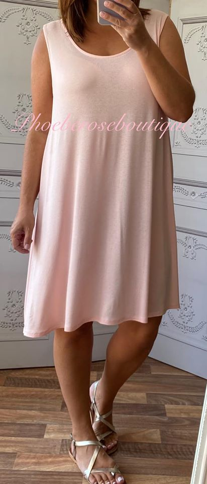 Lightweight Soft Jersey Loose Fit Swing Dress - Soft Pink
