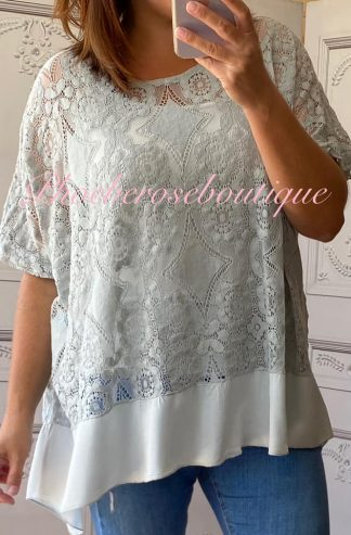 Lace Frill Dipped Hem 2 Part Top - Silver Grey